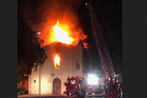 Attacks on Catholic churches: Mission San Gabriel Early Morning Fire Destroys church