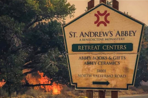 """Desert Benedictine Monastery spared from raging fire; """"like the parting of the Red Sea""""… but still needs help"""