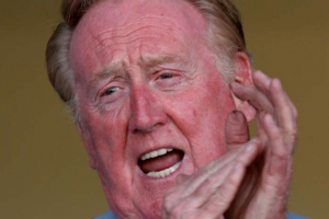 Early in the season, A Tribute to Catholic baseball sportscaster Vin Scully